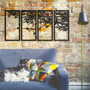 Metalen wanddecoratie - Birds in Tree Right