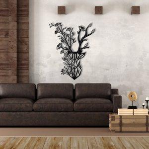 Metalen wanddecoratie - Flower Deer