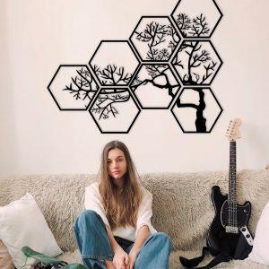 Metalen wanddecoratie - Hexagon Tree