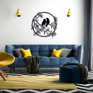Metalen wanddecoratie - Round Birds