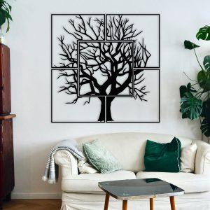 Metalen wanddecoratie - Square Tree
