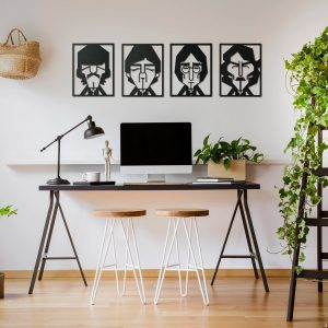 Metalen wanddecoratie - The Beatles Abstract