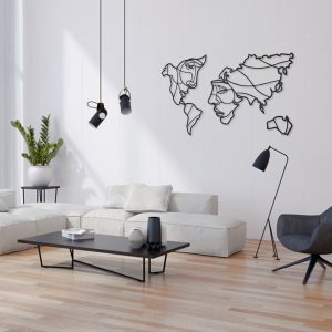 Metalen wanddecoratie - World Map Faces