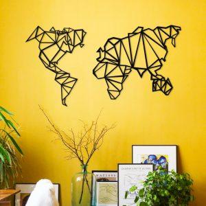 Metalen wanddecoratie - World Map Vector