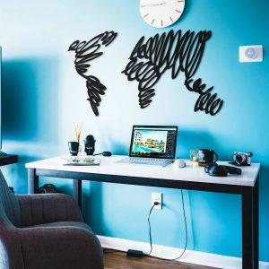 Metalen wanddecoratie - World Map Written