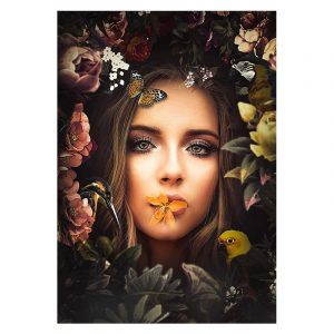 Aluminium Dibond Plexiglas Women botanische jungle dieren poster